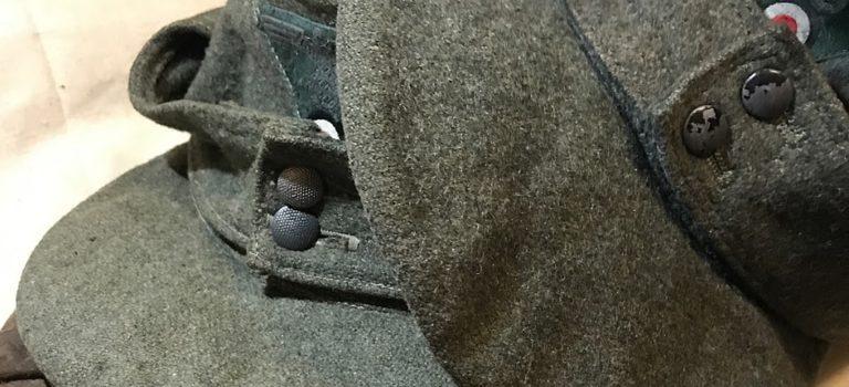 Internal stiffener material on German M43 field cap visors